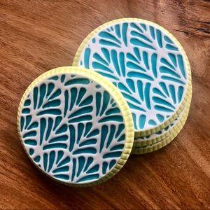 Anthropologie Artisan Ceramic Coasters (Turquoise)